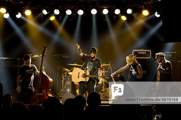 The U.S. country musician Bob Wayne live in the Schueuer concert hall  Lucerne  Switzerland
