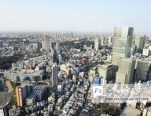 Blick vom Observation Deck der Roppongi Hills über Tokyo mit dem National Art Center Tokyo  Akasaka Detached Palace  Tokyo Dome und Tokyo Midtown  Tokyo  Japan