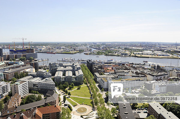 View of Hamburg from St Michaeliskirche Church  Elbe River  freeport  Kehrwiederspitze  city marina harbour  Gruner+Jahr publishing company  Germany  Europe