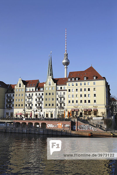 Bank of the Spree River with television tower  Berlin  Germany  Europe
