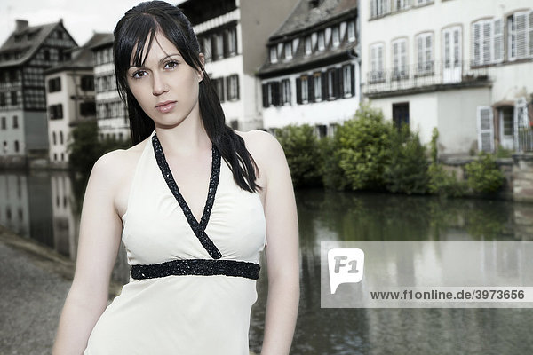 Portrait of a young dark-haired woman in Strasbourg  France  Europe