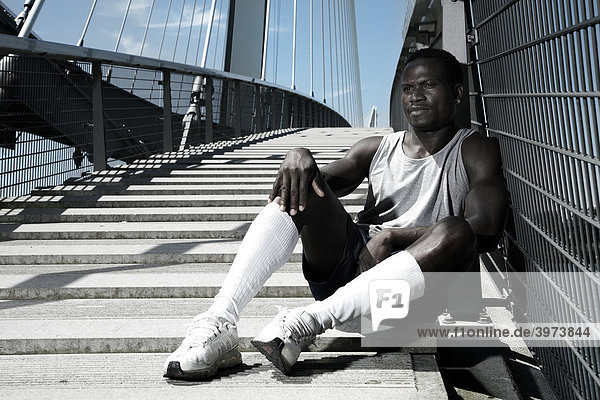 Young dark-skinned athlete  portrait