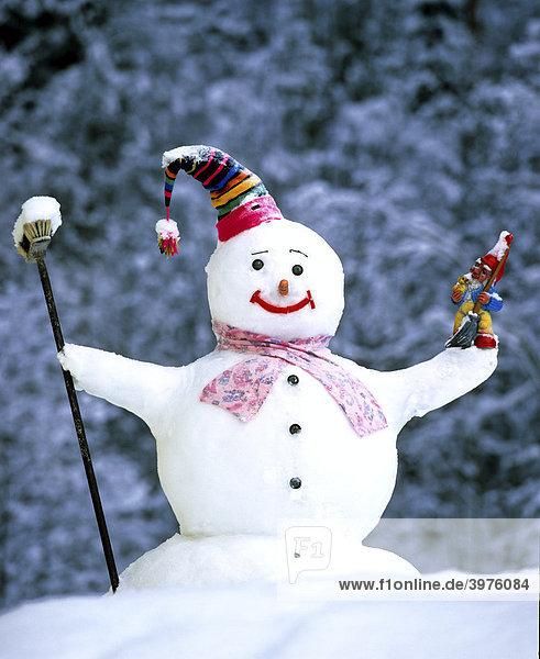 Snowman in winter  hat  scarf  broom