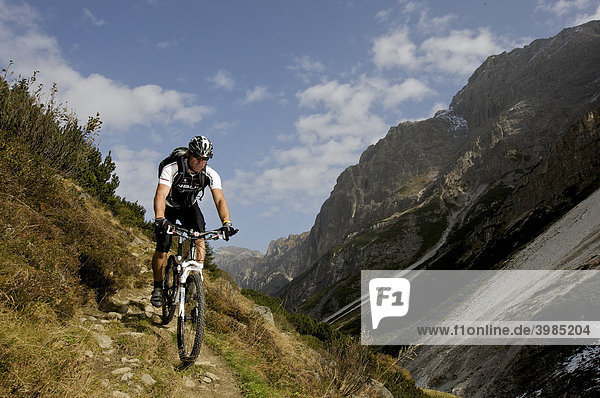 Mountainbike-Fahrer oberhalb der Karalm im Pinnistal  Tirol  Österreich