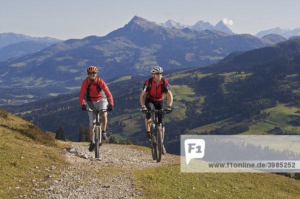 Mountainbike-Fahrer am Gaisberg bei der Wiegalm  dahinter Kitzbüheler Horn  Rettenbach  Tirol  Österreich