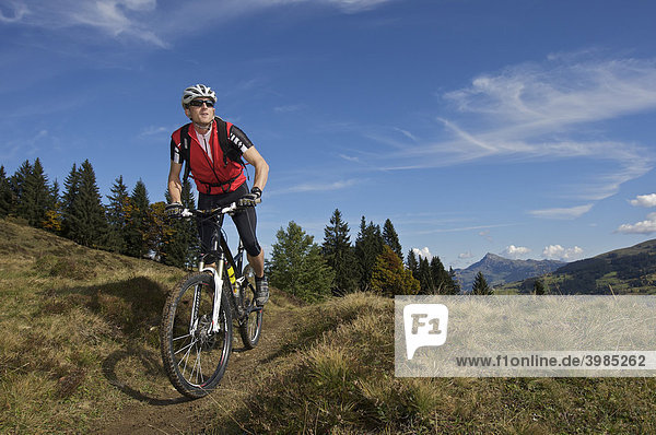 Mountainbiker on Gaisberg mountain  Rettenbach  Tyrol  Austria  Europe
