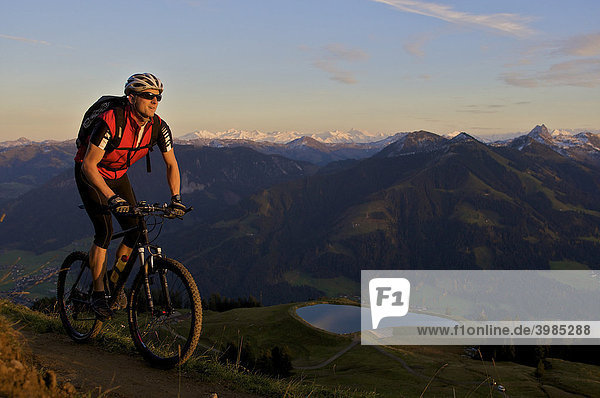 Mountainbike-Fahrer im Abendlicht an der Hohen Salve,  Tirol,  Österreich,  Europa