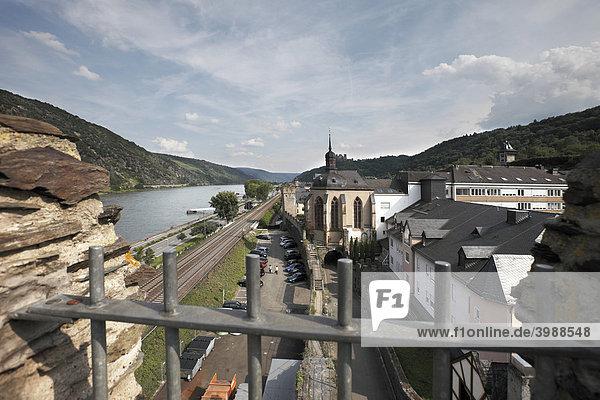 Blick auf Oberwesel von der Stadtmauer  Oberes Mittelrheintal  Rheinland-Pfalz  Deutschland  Europa