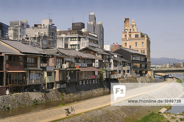 Channel along the traditional houses at the Kamu river in the center of Kyoto  Japan  Asia