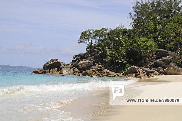 Sandstrand mit Granitfelsen und tropischer Vegetation  Anse Georgette  Insel Praslin  Seychellen  Afrika  Indischer Ozean