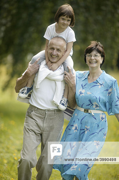 Senior couple  granddaughter  vital