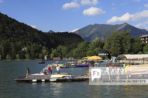 Landing stages in Strobl  Wolfgangsee Lake  Salzkammergut area  Upper Austria  Austria  Europe