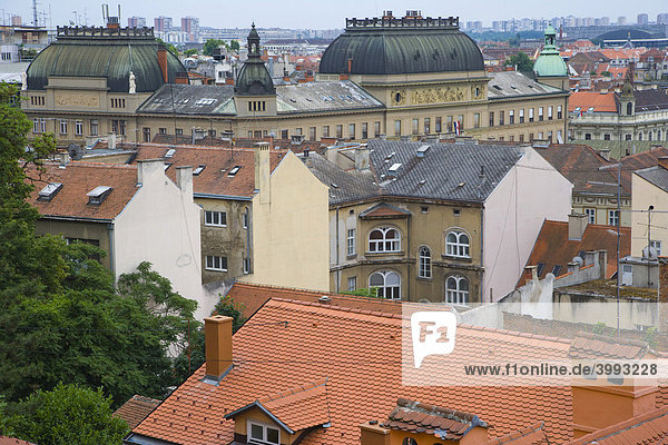 View of Zagreb with Croatian National Theatre  from Strossmayer promenade  Setaliste Strossmayera  Gornji Grad  Zagreb  Croatia  Europe
