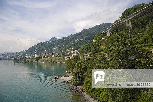 Blick auf Monteux  Genfer See  Veytaux  Schweiz  Europa