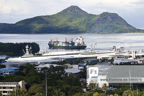 View from Bel Air towards the harbour of the capital city of Victoria  St. Anne Island at back  Mahe Island  Seychelles  Indian Ocean  Africa