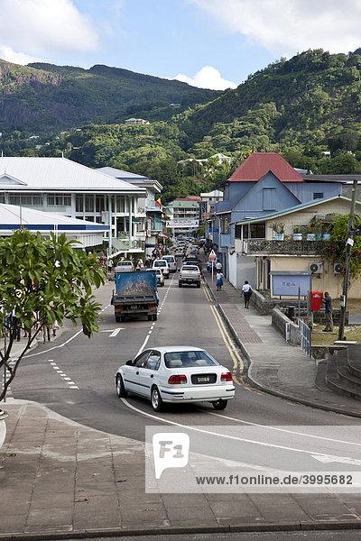 Blick auf die Albert Street  Hauptstadt Victoria  Insel Mahe  Seychellen  Indischer Ozean  Afrika