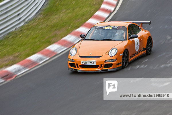 Nuerburgring race track  Nordschleife  north bend  tourists in a Porsche use the race track to drive fast with their sports car  district of Ahrweiler  Rhineland-Palatinate  Germany Europe