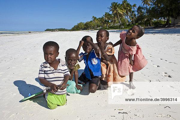 A group of children on the beach at Pingwe  Zanzibar  Tanzania  Africa
