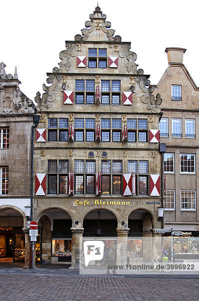 Old  gabled house with arcade  Muenster  Westphalia  Germany  Europe