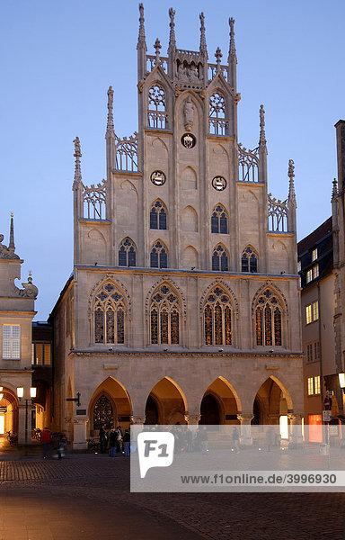 Historic Town Hall at dusk  Muenster  Westphalia  Germany  Europe