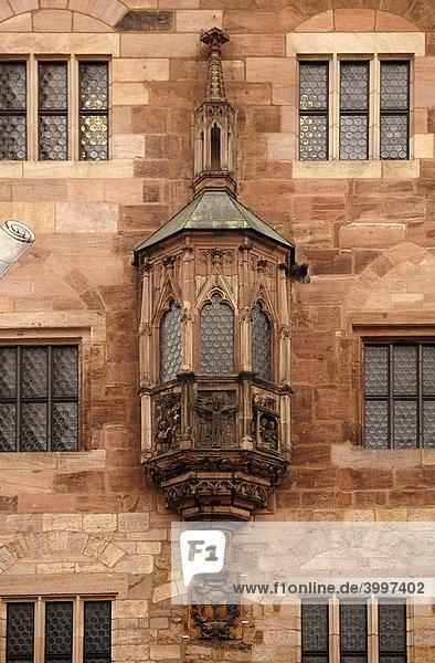 Alter Erker am Nassauer Haus  Nürnberg  Mittelfranken  Bayern  Deutschland  Europa