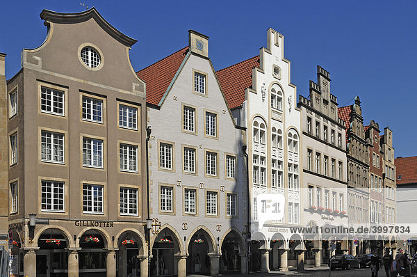 Shopping street with old gabled houses and arcades  Muenster  North Rhine-Westphalia  Germany  Europe