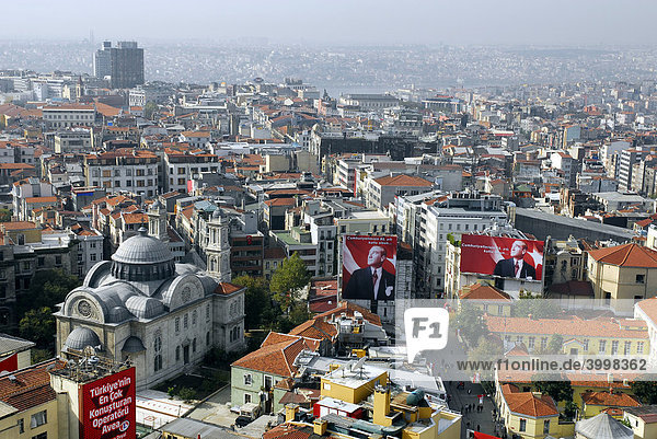 View from a rooftop at Taksim Square  the view along the Istiklal Caddesi  Beyoglu  Istanbul  Turkey