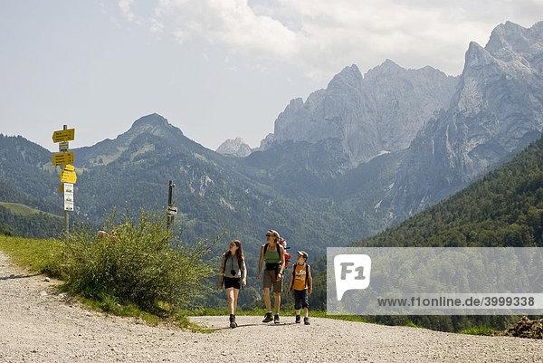 Hiking mother with children  Kaisergebirge mountains  Kufstein  Austria  Europe