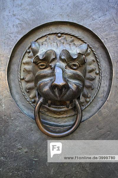 Löwenkopf mit Ring  Tür  Bronze  gotische St. Lorenz-Kirche  erbaut ab 1250  Altstadt  Nürnberg  Mittelfranken  Franken  Deutschland  Europa