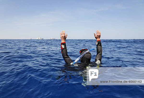 Drifting diver at sea is trying to get the attention of people on dive ships on the horizon by waving  Egypt  Red Sea  Africa