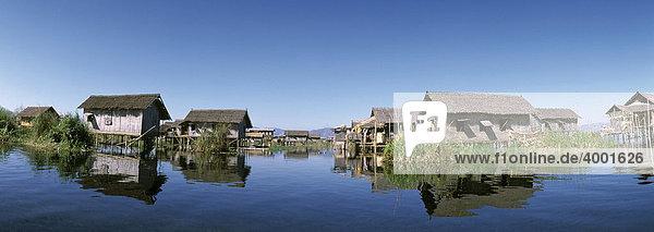 Haus auf Stelzen im See  Pfahldorf  Ywama  Inle See  Shan State  Burma  Birma  Myanmar  Asien