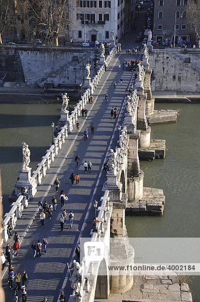 Angel's Bridge as seen from Engelenburcht  Castel Sant'Angelo  historic city centre  Rome  Italy  Europe