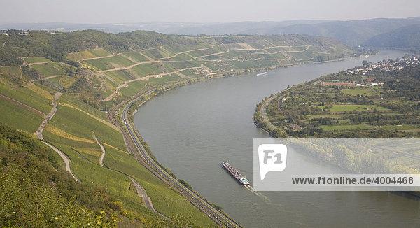 The wine-growing region Bopparder Hamm on the left bank of the Rhine River near Boppard  Rhineland-Palatinate  Germany  Europe