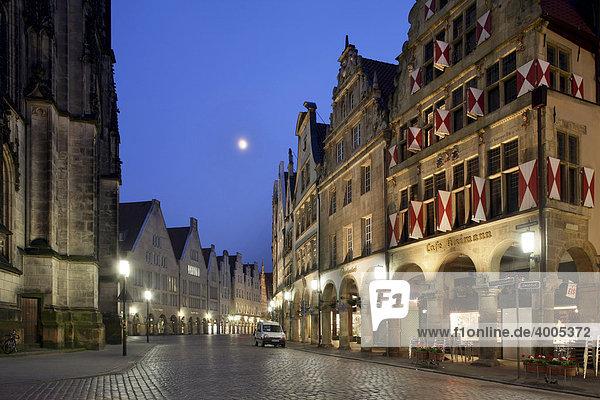 Giebelhäuser am Prinzipalmarkt  Münster  Münsterland  Westfalen  Nordrhein-Westfalen  Deutschland  Europa