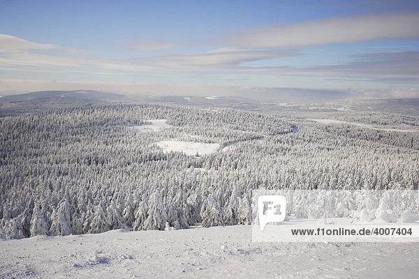 Blick vom Brocken auf eine prächtige  dick eingeschneite Winterlandschaft  Sachsen-Anhalt  Deutschland