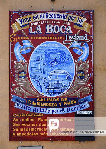 Historisches Werbeschild in der Calle Necochea in El Caminito  La Boca  Buenos Aires  Argentinien Historisches Werbeschild in der Calle Necochea in El Caminito, La Boca, Buenos Aires, Argentinien