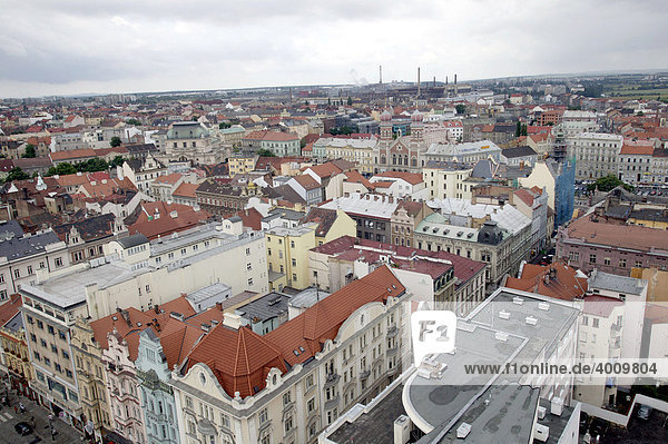 View of the historical old town and further parts of Pilsen  Plzen  Bohemia  Czech Republic  Europe.