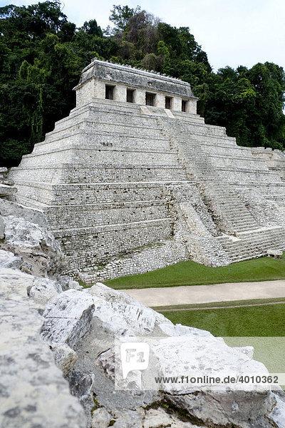 Tempel der Inschriften  Maya Tempel bei Palenque  Chiapas  Mexiko  Zentralamerika