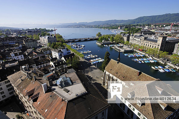 View from one of the towers of Grossmuenster  Great Minster Church  over the Limmat River and Lake Zurich  Zurich  Switzerland  Europe