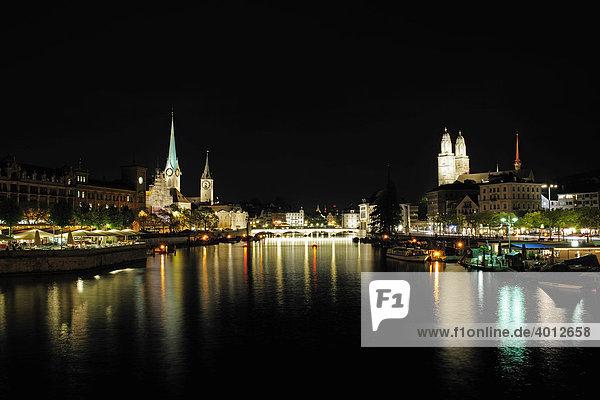 Zürich bei Nacht  Schweiz  Europe
