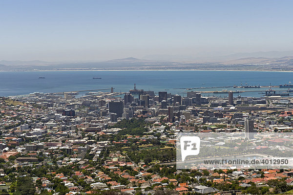 View of the city of Cape Town from Table Mountain  South Africa  Africa
