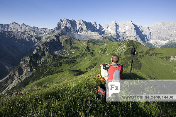 Mountaineer in front of the Karwendel Mountains  North Tyrol  Austria  Europe