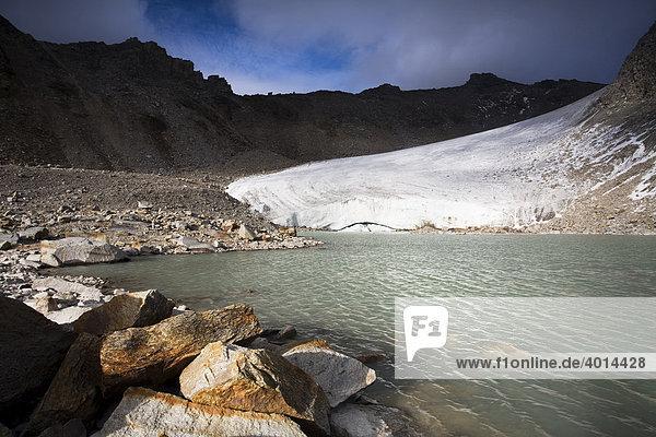 Gletschersee  kleiner Angelusferner  Schafbergspitz  Ortlergruppe  Nationalpark Stilfserjoch  Südtirol  Italien  Europa