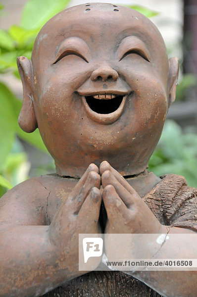 Lachender Mönch  Tonfigur  Thailand  Asien