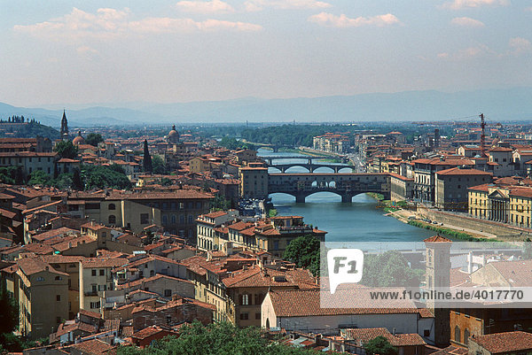 Panorama with the Arno River  Florence  Tuscany  Italy  Europe