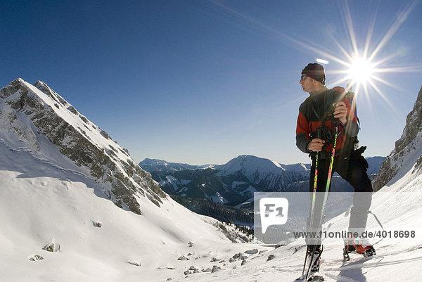 Skitour auf das Stadelfeld im Nationalpark Gesäuse  Steiermark  Österreich  Europa