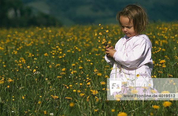 Mädchen pflückt einen Blumenstrauß