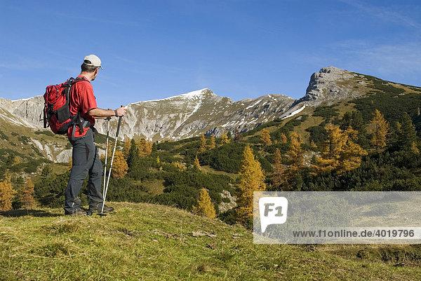 Wanderer im Herbst am Hochmölbing in der Steiermark  Österreich  Europa