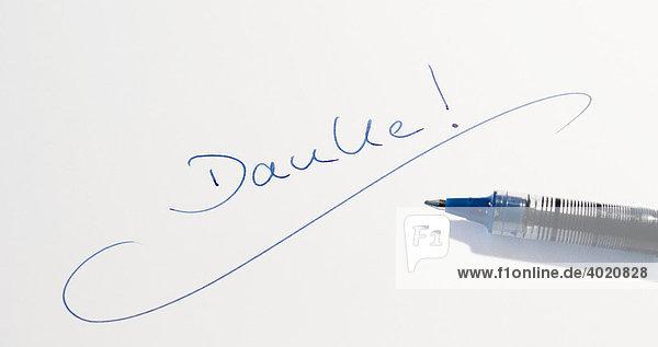 Handwritten lettering  Danke  German for Thank You  pen