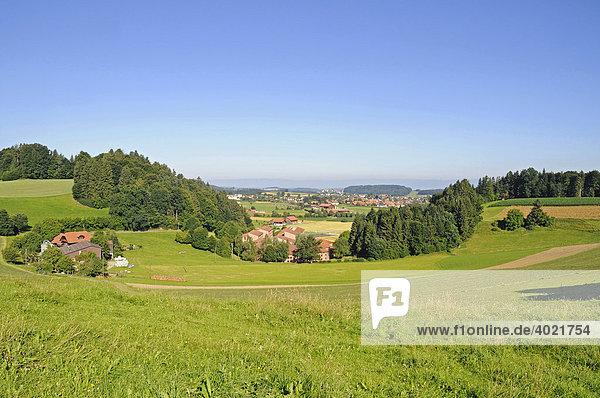 Wiesen  Berge  Bauernhof  bäuerliche Landschaft bei Schwarzenburg  Schwarzenburger Land  Kanton Bern  Schweiz  Europa Kanton Bern